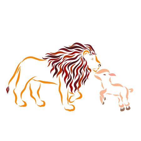 Corderito y león grande y fuerte Foto de archivo