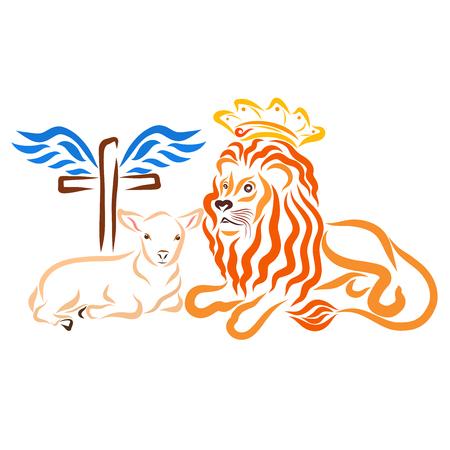 Humble lamb, royal lion and winged cross Stock Photo