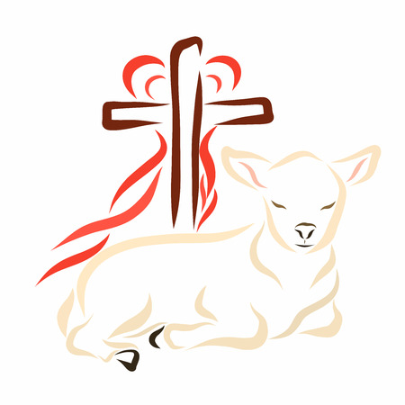 Humble lamb, cross and heart