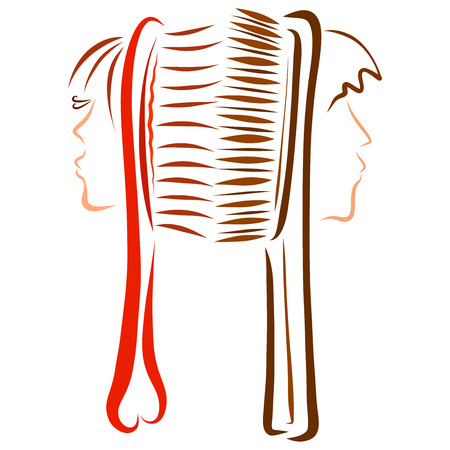 Offended pair of lovers, creative combs with human faces Imagens