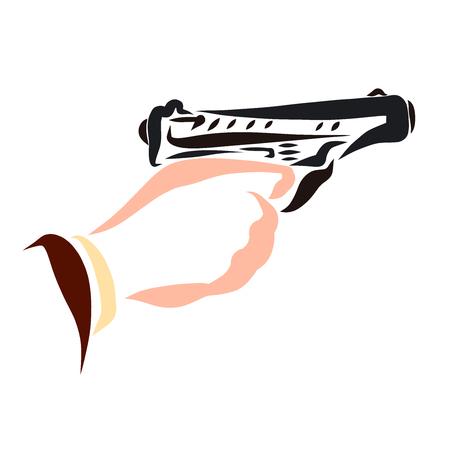 man pulls the trigger of a gun, shot Stok Fotoğraf
