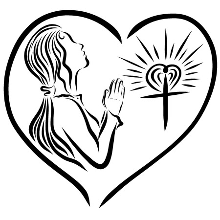 A girl praying to God, and a radiant cross, God's love protects