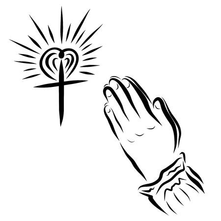 Cruz resplandeciente y las manos de una mujer rezando Foto de archivo