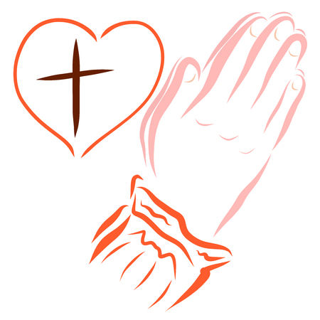 Hands of a praying person, heart with a cross inside