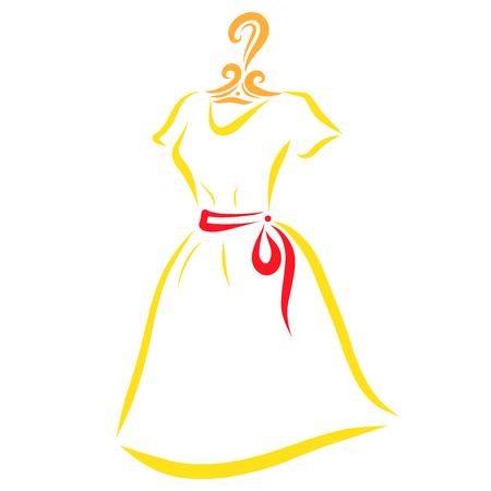 Bright summer dress on a hanger