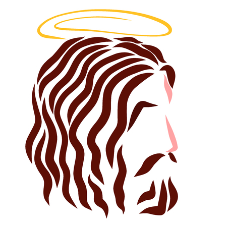 Lord Jesus with a halo over his head, head, profile