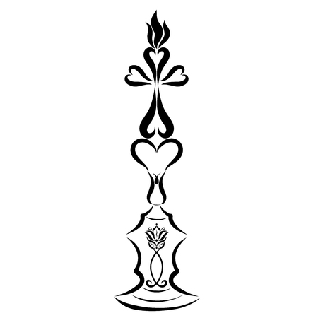 Candle in the shape of a cross on a candlestick with hearts, lily and symbolic fish