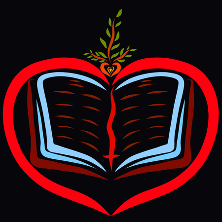 Open bible in heart and sprout with seed, black background Stock Photo