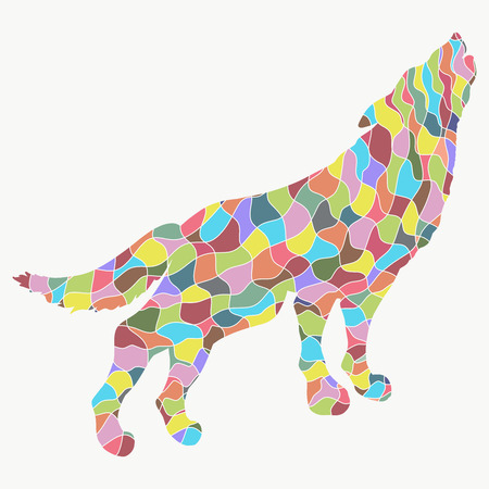 Silhouette of wolf with abstract colorful pattern