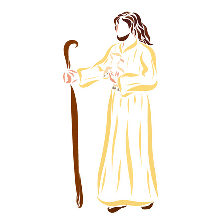 The Shepherd Jesus carrying the lamb in his arms