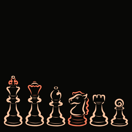 Set of six light chess pieces on a black background