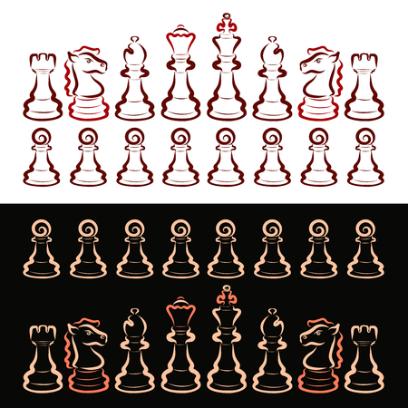 A set of chess pieces, intellectual game, dark and light