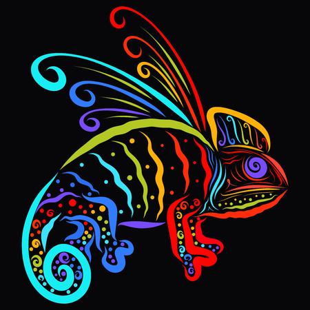 Rainbow patterned chameleon, creative dragon on black background 版權商用圖片