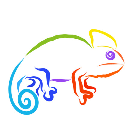silhouette of a chameleon with an eye out of a spiral, all colors of the rainbow