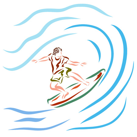 Young athletic man on surfboard, waves