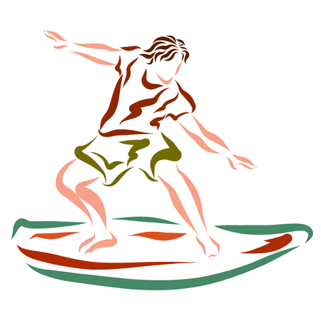 A young man is holding a balance on a surfboard