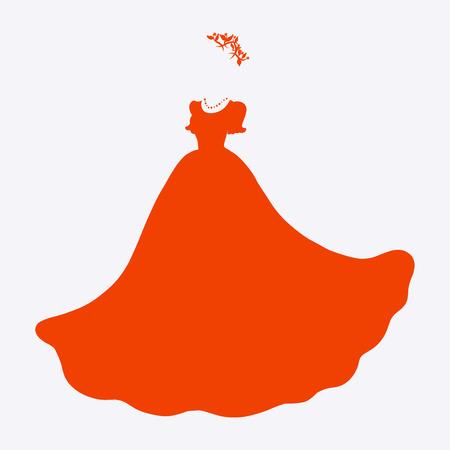 Ornate female scarlet dress, wreath and beads