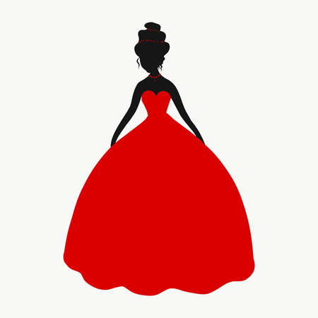 Elegant lady in a lush red dress