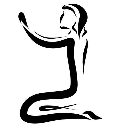 Praying man on his knees, logo