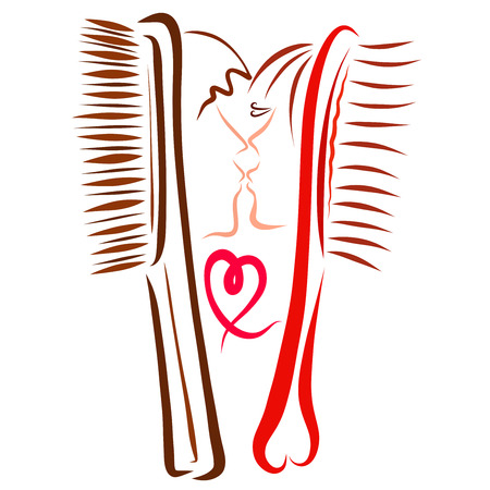 Combs with human faces, romantic kiss and heart