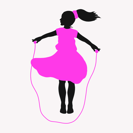 Children's useful leisure and sports, a girl with a rope Standard-Bild - 121095970