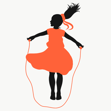 Girl jumping rope, healthy childhood