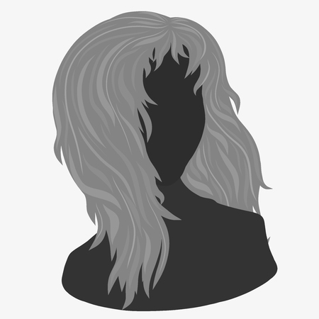Young woman with curvy hair, silhouette Banco de Imagens