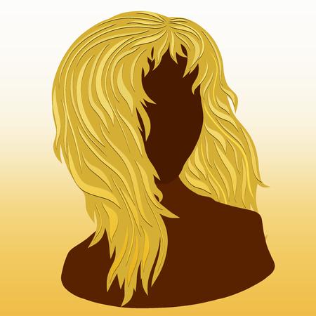 Silhouette of a girl with long voluminous hair Banco de Imagens