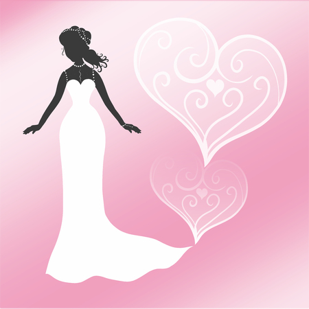 Elegant bride on a pink background with patterned hearts
