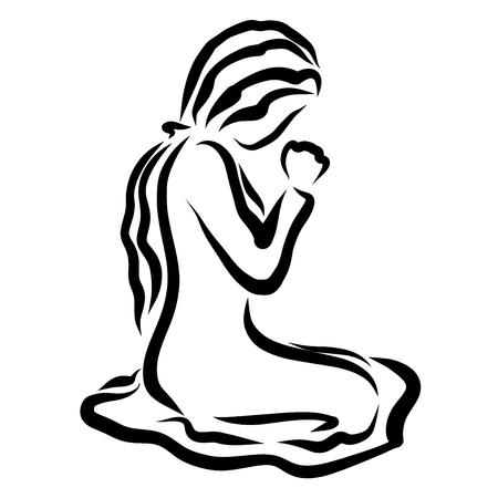 Mujer joven arrodillada orando humildemente a Dios