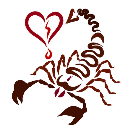 The sting of a scorpion comes right into the heart, feelings and health Stock fotó
