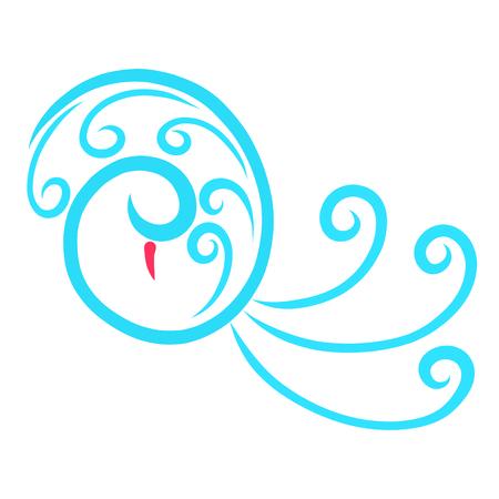 Graceful bird of blue curls and spirals