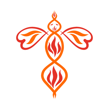 Bird of flame, wings in the shape of hearts