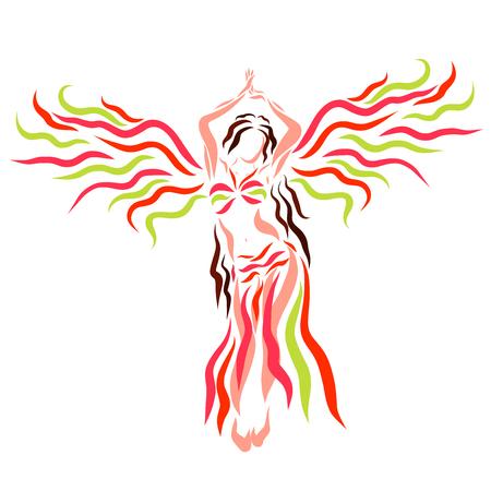 Winged woman dances oriental dance
