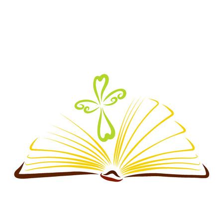 Ein offenes Buch, das aussieht wie eine strahlende Sonne und ein Kreuz anmutiger Herzen Standard-Bild