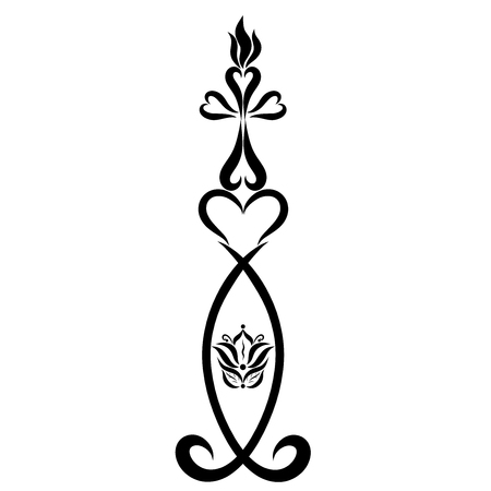 Burning Christian candle in a candlestick, symbolism, black contour