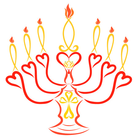 Candlestick with seven burning candles, cross, lily and fish