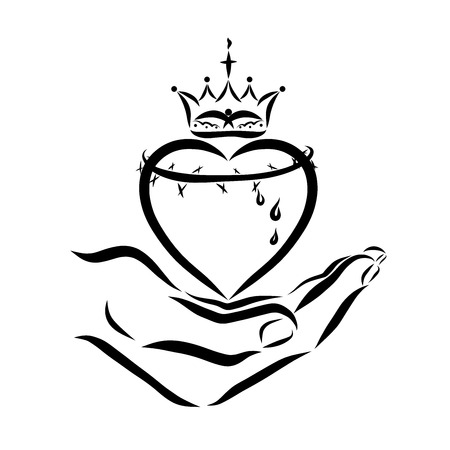 Heart with a crown of thorns and a crown in hand