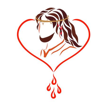 Pan Jezus w koronie cierniowej, sercu i kroplach krwi