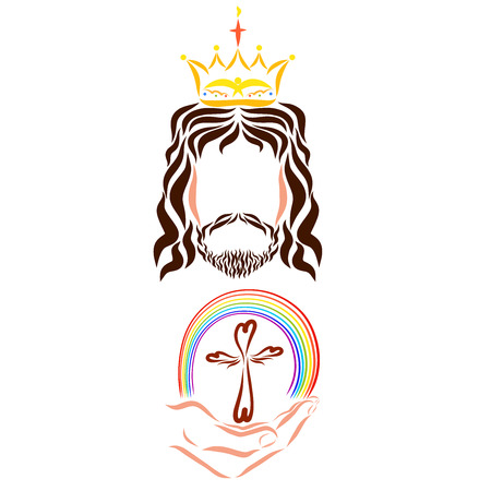Jesus gives people salvation, promise, Christianity, the cross and the rainbow Stock fotó