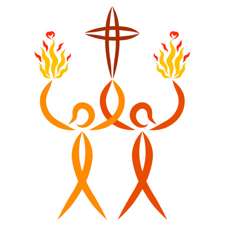 two abstract people carry a Christian cross and a flame with hearts, a symbolic fish from the hands