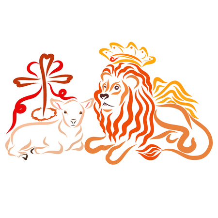 Regal winged lion, lamb and cross with a crown of thorns, heart and crown Standard-Bild - 121078032