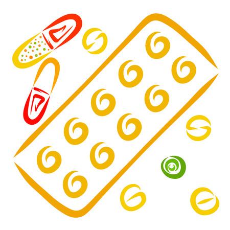 a set of pills or vitamins, medicine Foto de archivo - 121078056