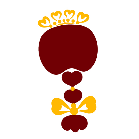 A girl with a pigtail and a crown of hearts, head, back of the head