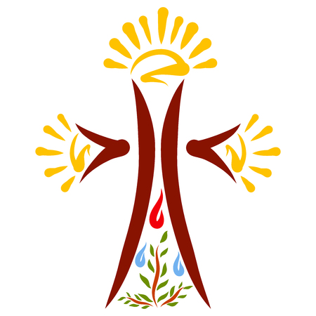 Cross with sun and sprout under drops of blood and water