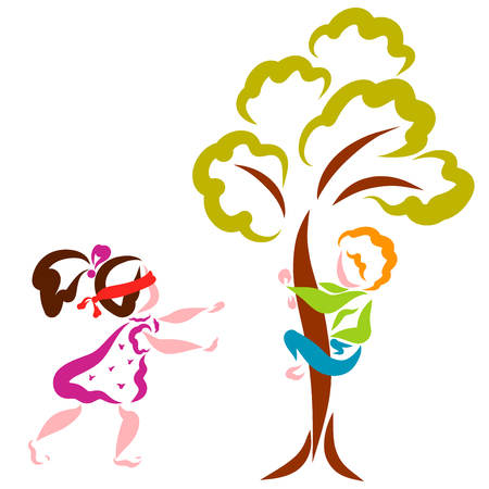 Children play hide and seek, fun game, a boy hides in a tree, a girl searches blindfolded