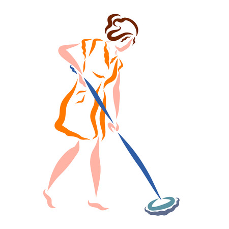 Young woman washing floor with mop, sketch Stok Fotoğraf