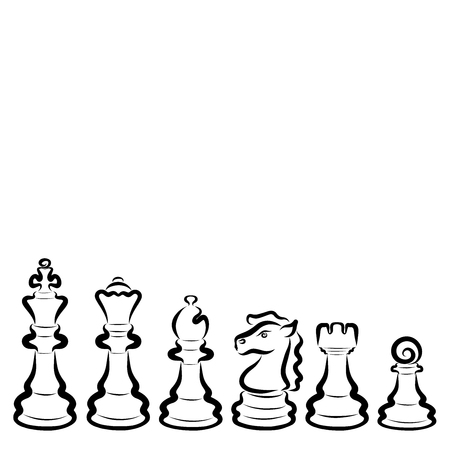 Six different chess pieces, black outline, set Stock Photo