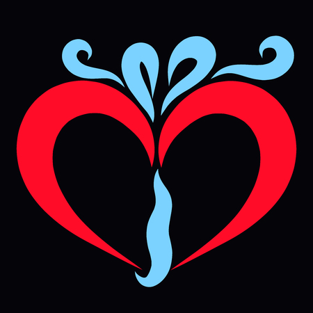 romantic gift, red heart with blue bow, black background