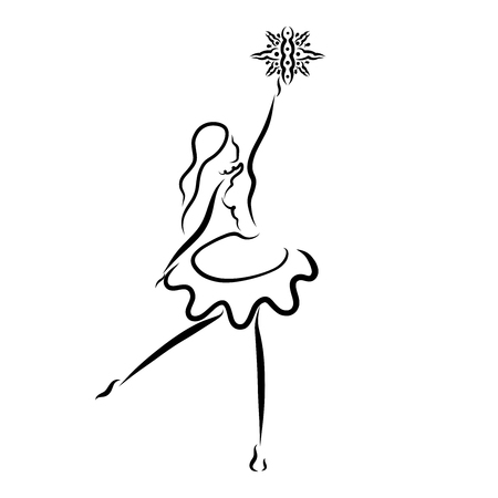 Dancing girl with a star or snowflake, black pattern